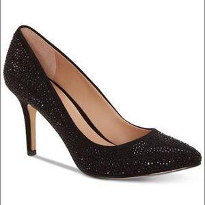 I.N.C Black Rhimestone low ankle Heels pointed toe